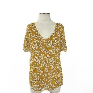 CAbi- Thrive Mustard Floral Top Size Small #3598